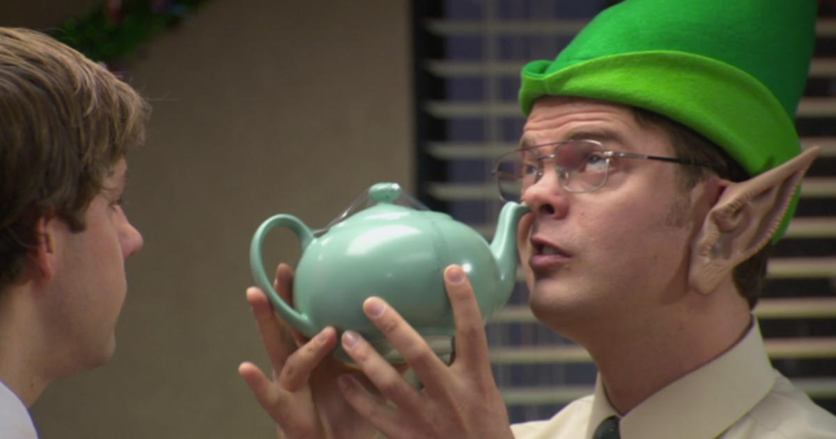 Dwight sticking the teapot Jim got for Pam up his nose during a Christmas episode of 'The Office'
