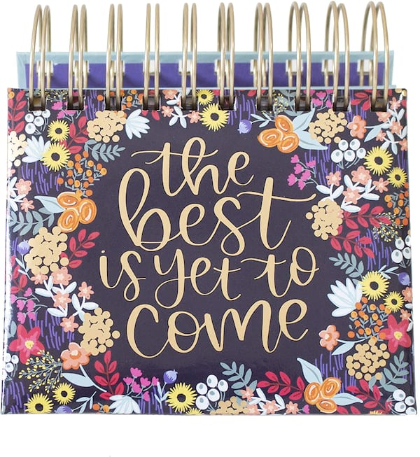 bloom daily planners Undated Perpetual Desk Easel/Inspirational Standing Flip Calendar from Amazon