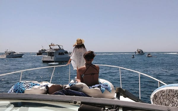 People on a yacht cruise