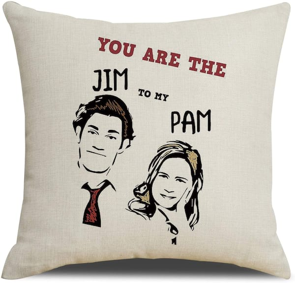 'You Are the Jim to My Pam' throw pillow from Amazon