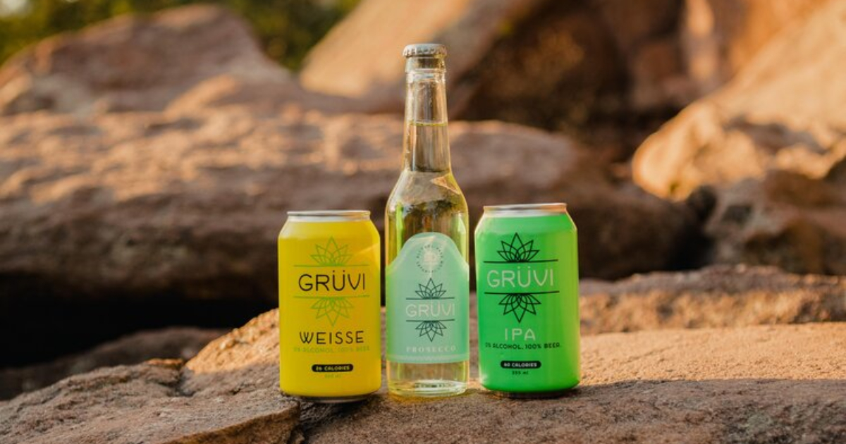 Grüvi sample pack of non-alcoholic weisse, prosecco, and IPA