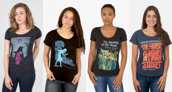 gifts for book lovers, four t-shirts with book covers on them, books