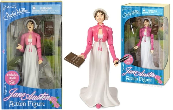 gifts for book lovers, jane austen action figure, books