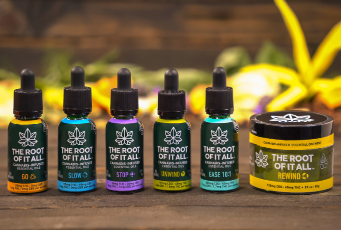 The Root of It All cannabis-infused essential oils on display