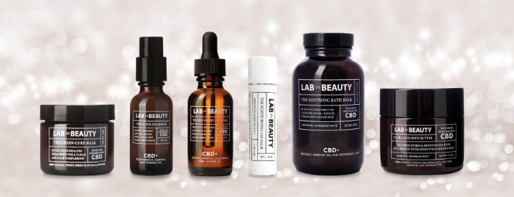 Lab to Beauty's line of products on a glittery background from the company's site