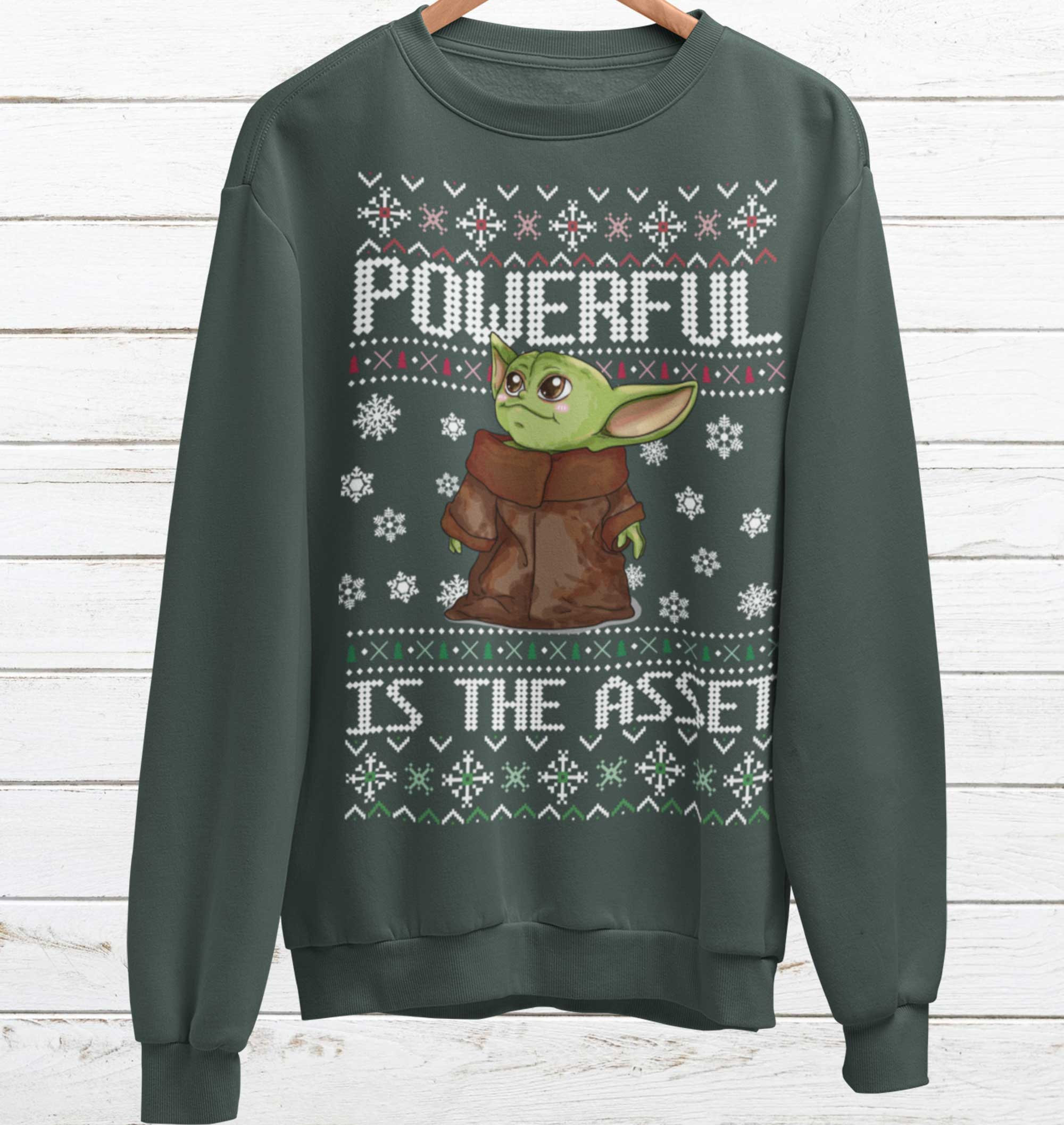 Baby Yoda ugly sweater that reads \Powerful Is the Asset\ from Etsy