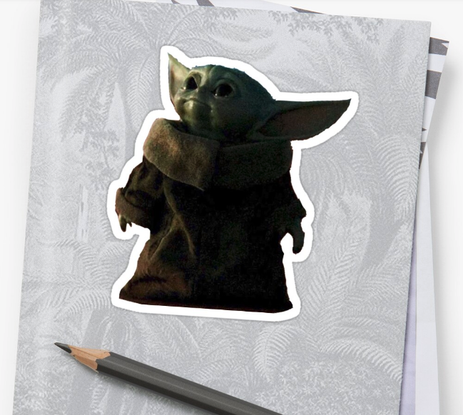 Baby Yoda sticker on a folder from Redbubble