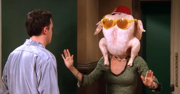 Monica with an uncooked turkey on her head in a Thanksgiving episode on 'Friends'