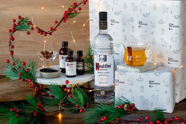 Ketel One Vodka's Warm & Cozy Cocktail Kits on display for the holidays