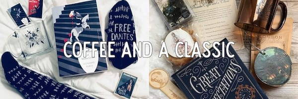book subscription box, coffee and a classic, books
