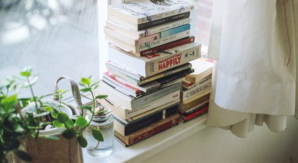 book subscription boxes, image of a stack of books next to a plant, books