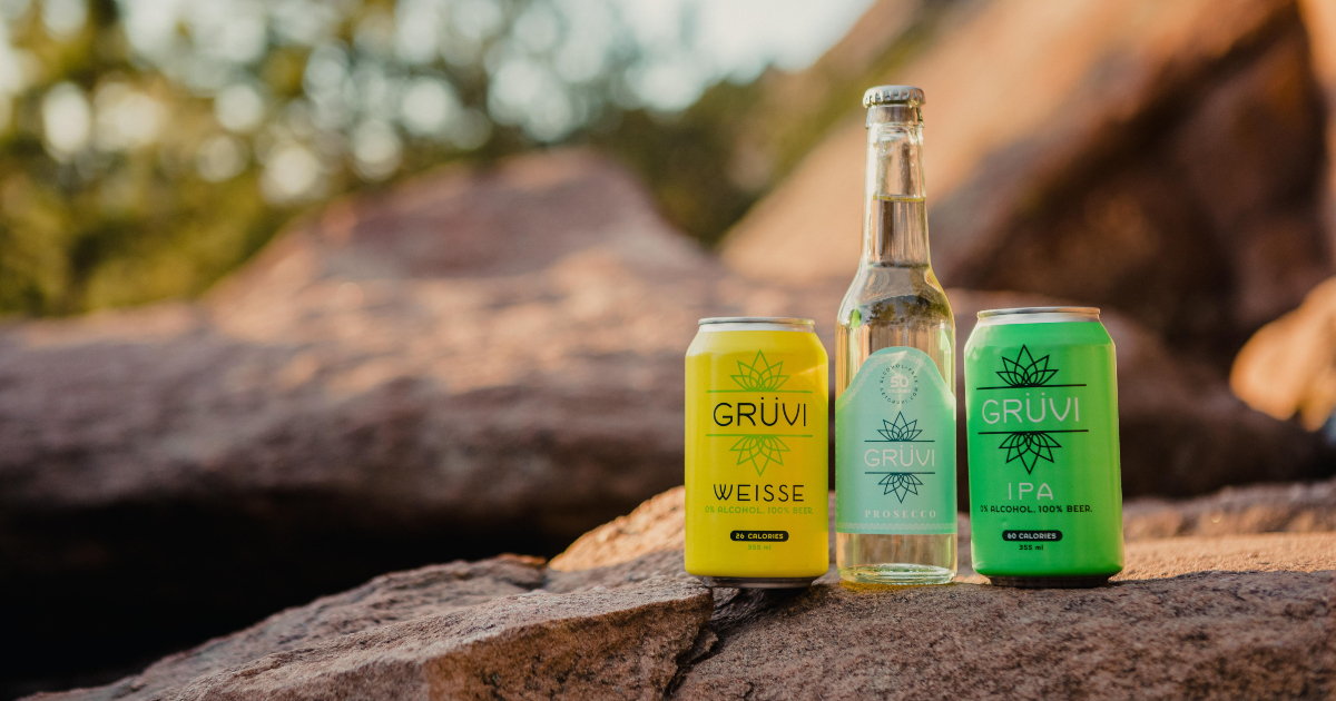 Grüvi's line of booze-free drinks sitting on a cliff