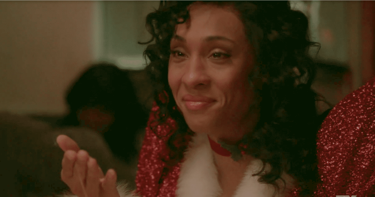 Blanca dressed up as Santa Claus during a Christmas episode of 'Pose'