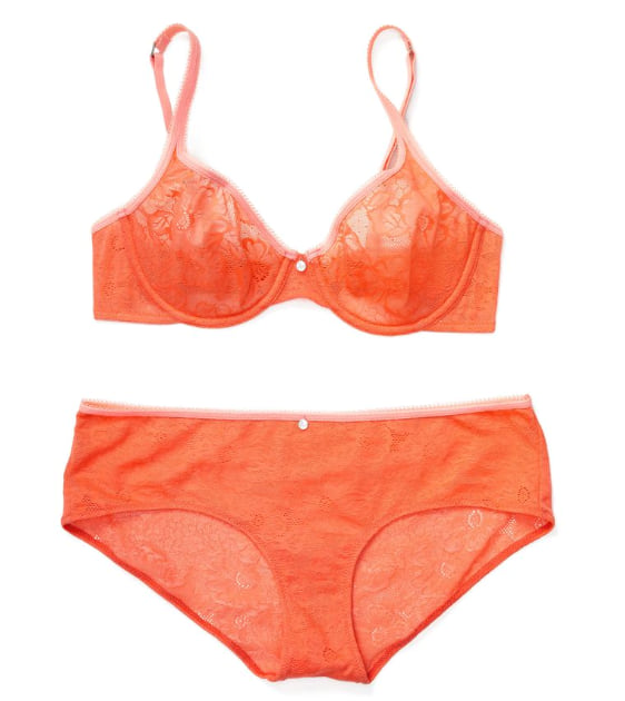 Woman wearing the Celestine Unlined from Adore Me in orange