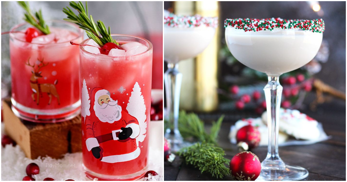Different Christmas cocktails sitting next to each other