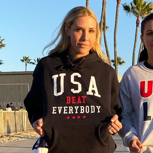 Allie Long wearing a 'USA Beat Everybody' hoodie