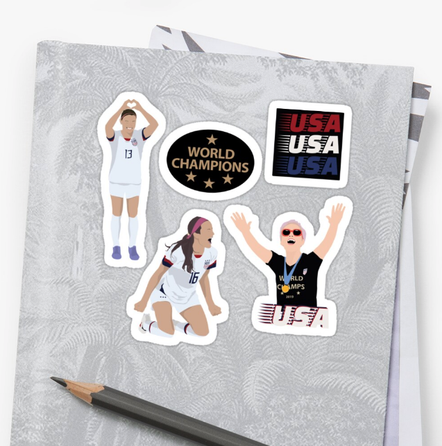 USWNT sticker pack from Redbubble