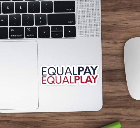 'Equal Pay, Equal Play' sticker from Redbubble