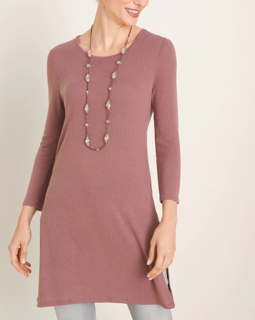 3/4-Sleeve Side-Slit Tunic in New Mauve from Chico's
