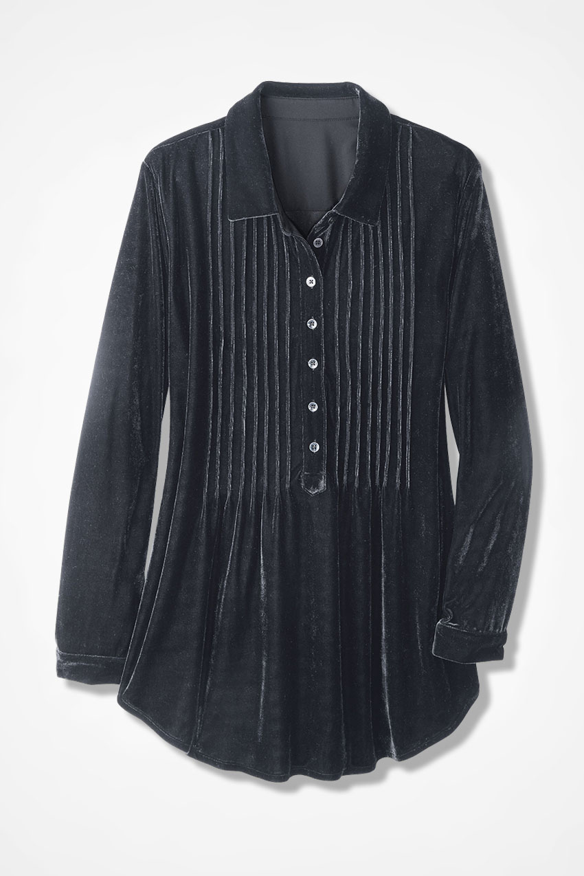 Stretch Velvet Pintuck Tunic from Coldwater Creek
