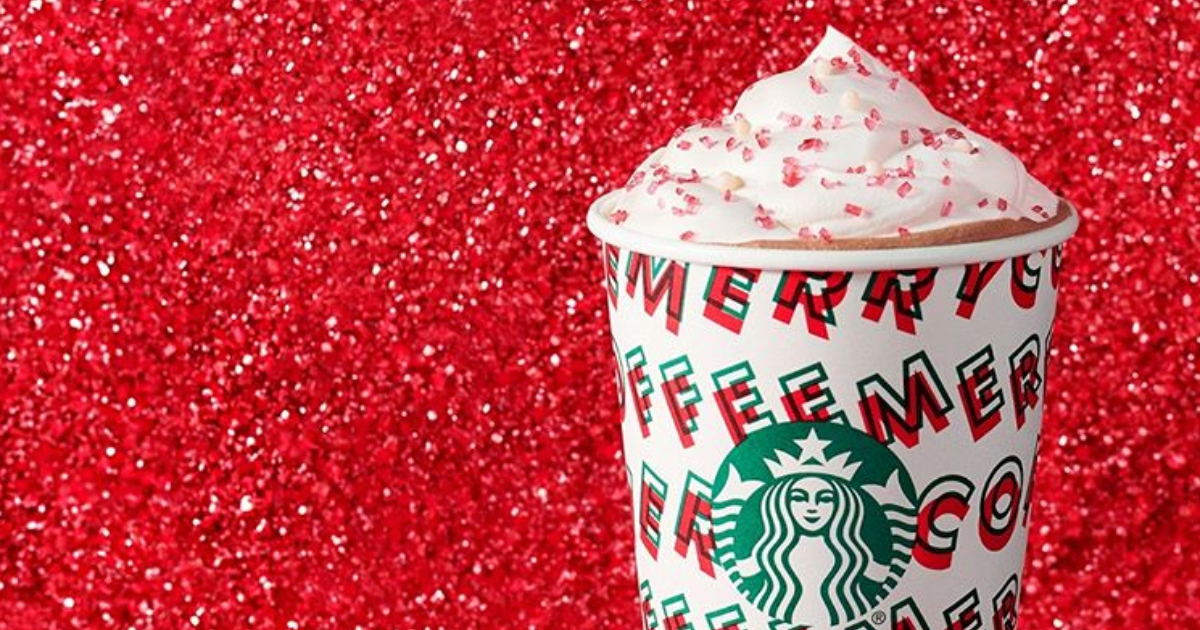 Starbucks Toasted White Chocolate Mocha sitting in front of red glitter
