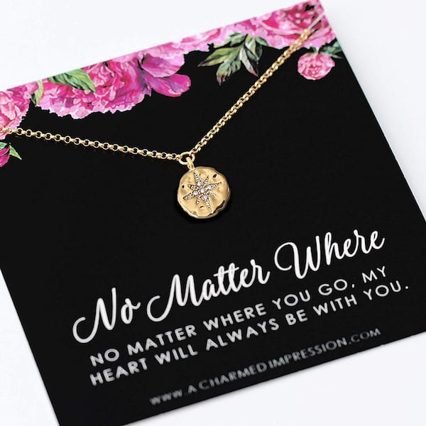 No Matter Where necklace for long-distance couples from Amazon