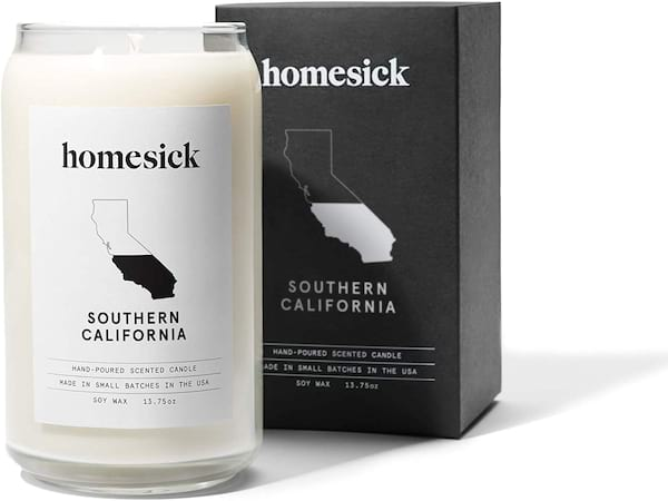 Homesick scented candle from Amazon in Southern California