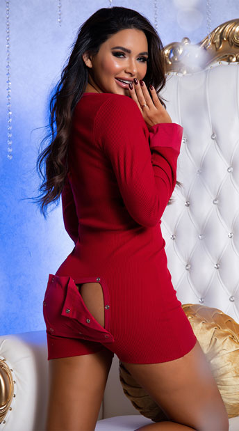Girl wearing the Love Me Long Johns Romper from Yandy
