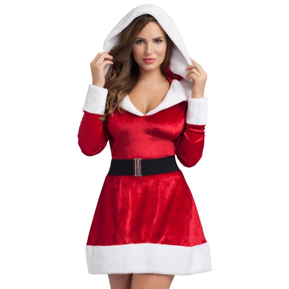 Woman wearing the Hooded Sexy Santa Dress from Lovehoney