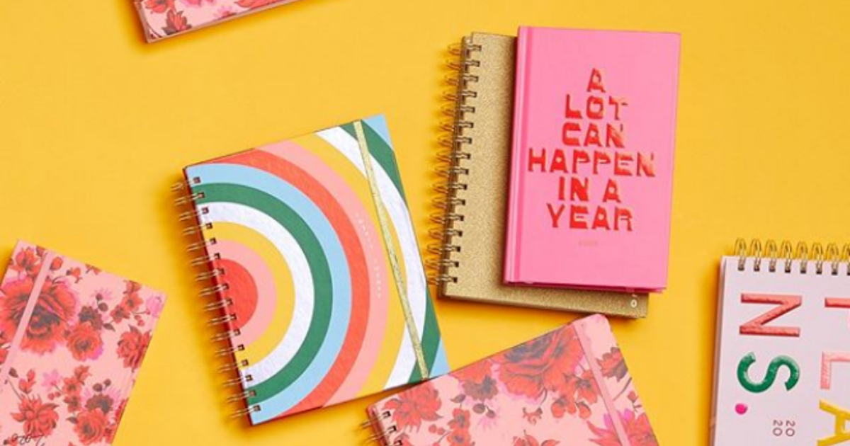 Various 2020 planners from ban.do sprawled out on a yellow background for an Instagram post