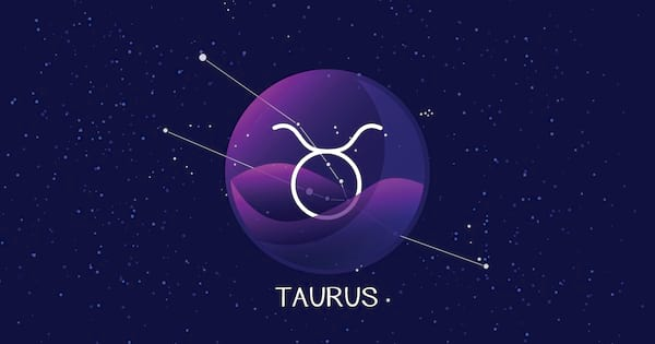Taurus sign zodiac background. Beautiful and simple vector image of night starry sky with taurus or bull zodiac constellation behind glass sphere with encapsulated taurus sign and constellation name.