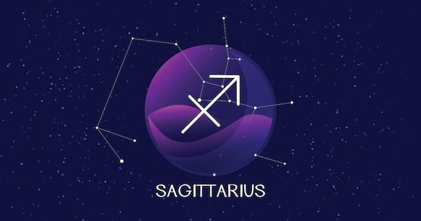 Sagittarius sign background. Beautiful and simple vector image of night starry sky with sagittarius zodiac constellation behind glass sphere with encapsulated sagittarius sign and constellation name.
