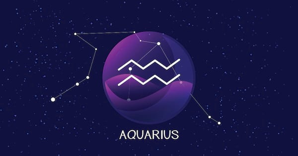 aquarius sign, zodiac background. Beautiful and simple vector image of night, starry sky with aquarius zodiac constellation behind glass sphere with encapsulated aquarius sign and constellation name.