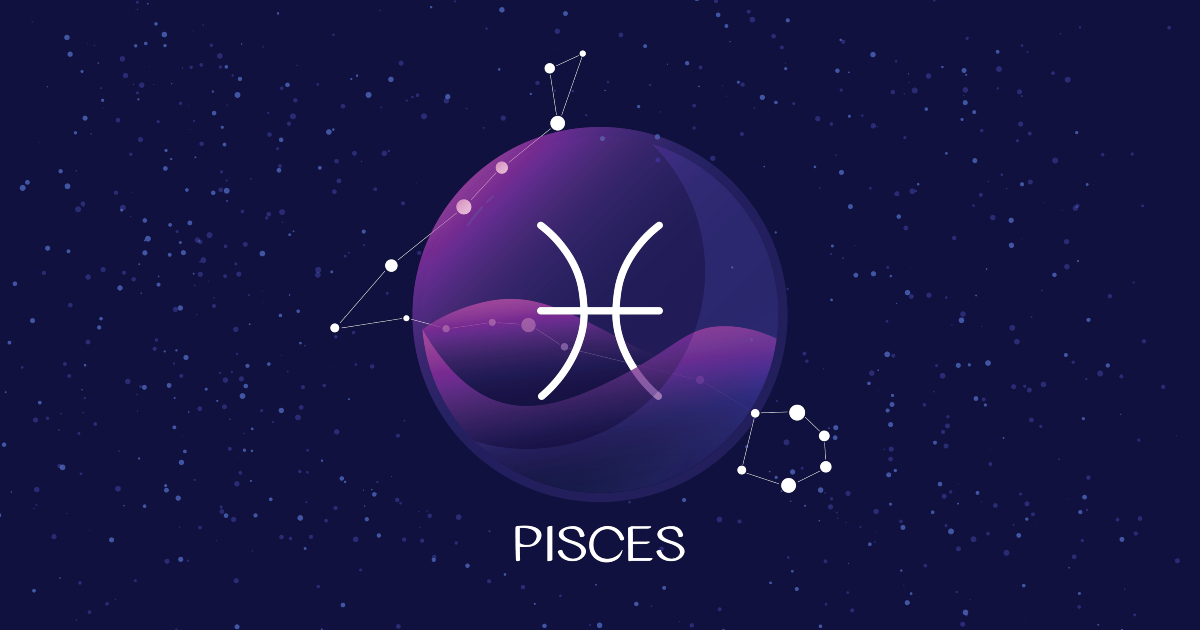 pisces sign, zodiac background.Beautiful and simple vector image of night, starry sky with pisces zodiac constellation behind glass sphere with encapsulated pisces sign and constellation name.
