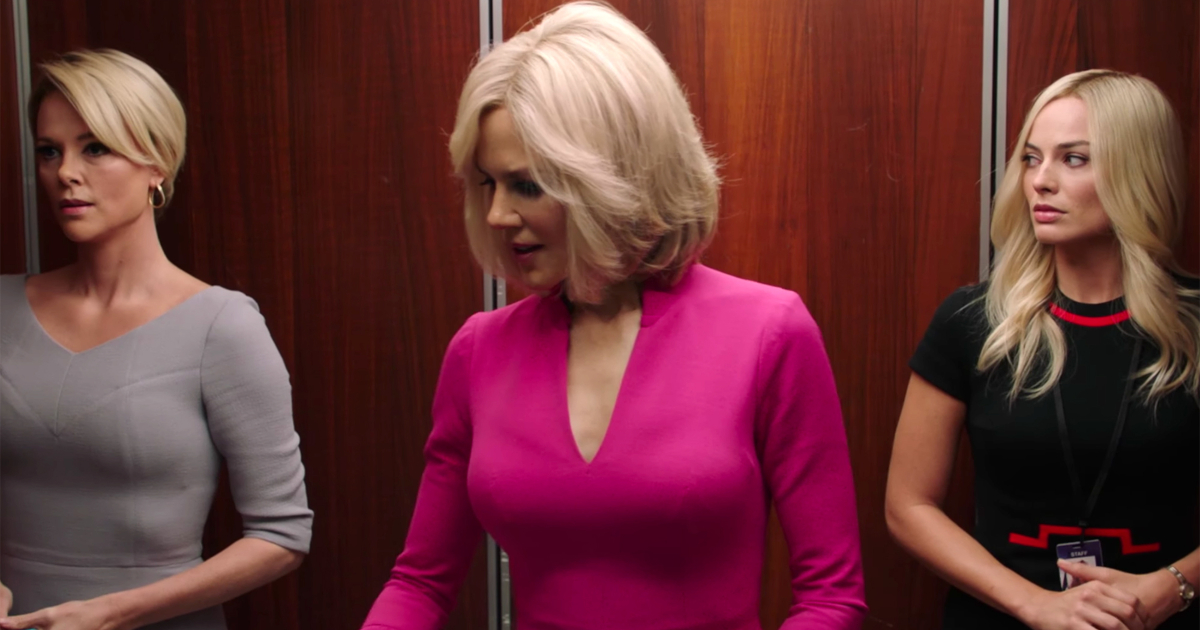 Charlize Theron as Megyn Kelly, Nicole Kidman as Gretchen Carlson, and Margot Robbie as Kayla Pospisil all standing in an elevator together in 'Bombshell'