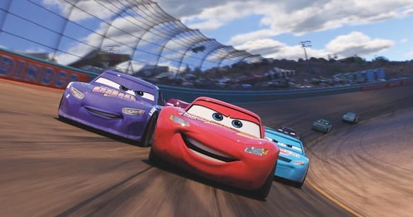 pixar cars movie racing on track with lightning mcqueen