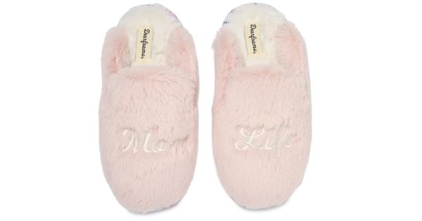 mom life pink fuzzy slippers from nordstrom rack mother's day gift