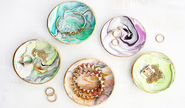 marbled clay ring dish mother's day diy gift