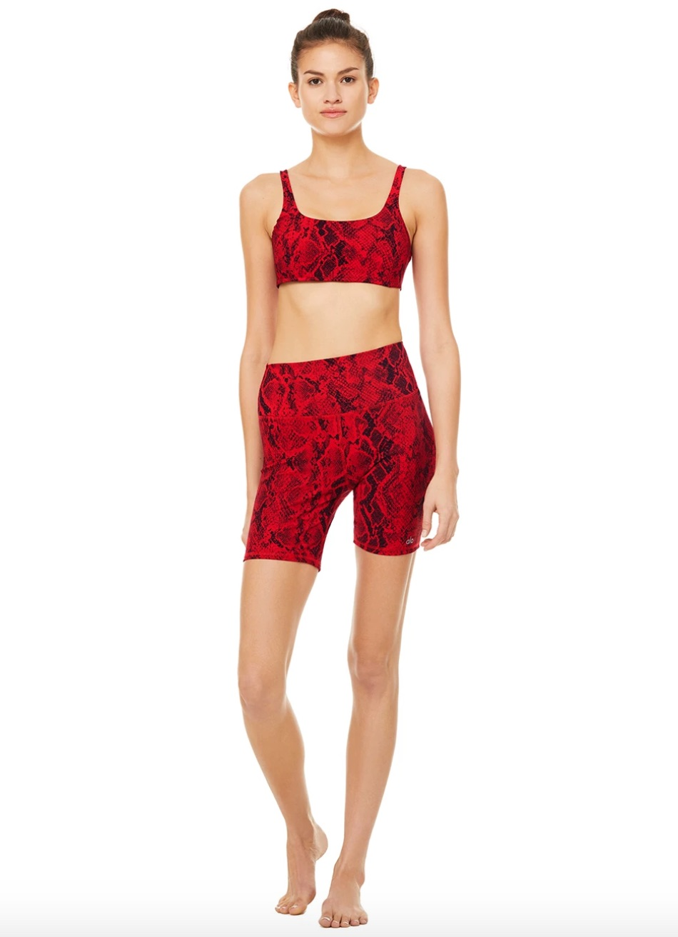 red snakeskin print short and sports bra set from alo yoga