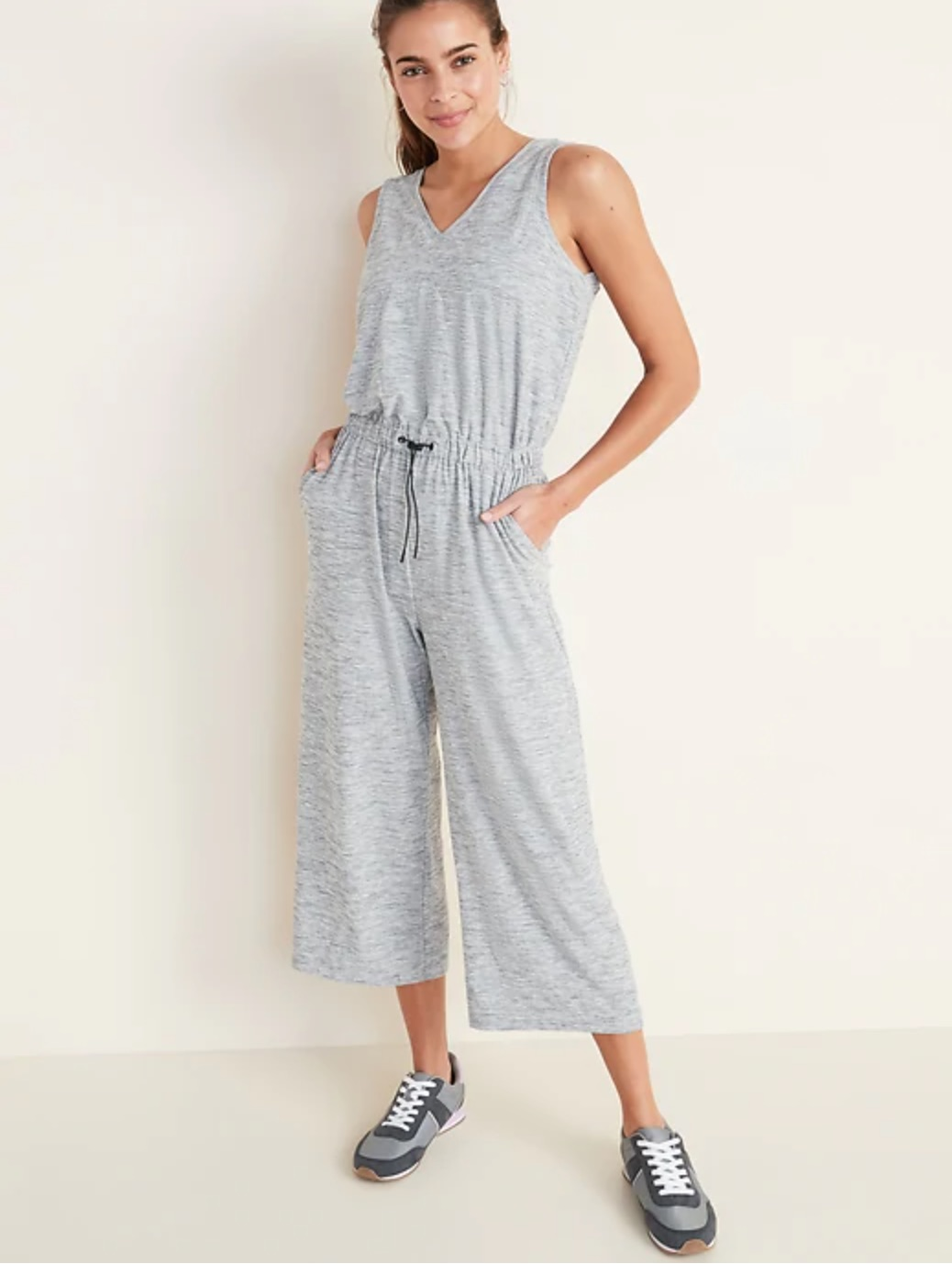 breathable soft knit gray jumpsuit from old navy
