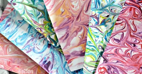marbled paper with shaving cream and food coloring