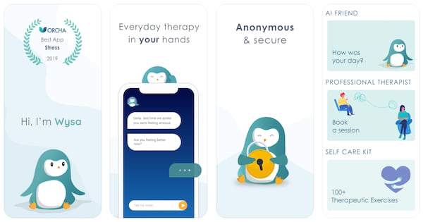 wysa mental healthy stress anxiety app for iphone