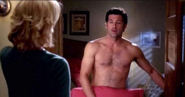 derek shepherd covering himself with a pillow shirtless izzie stevens grey's anatomy