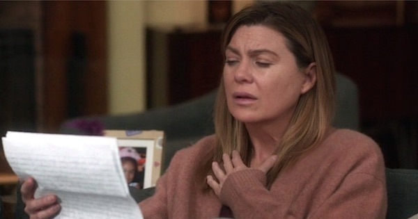 meredith reading goodbye letter from alex
