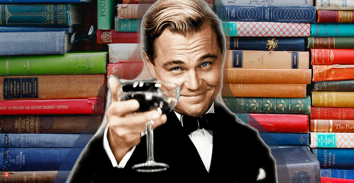 books, leo dicaprio, literature, cheers, toast, celebrate, The Great Gatsby