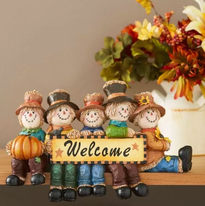 Autumn Harvest Welcome Scarecrow Sign