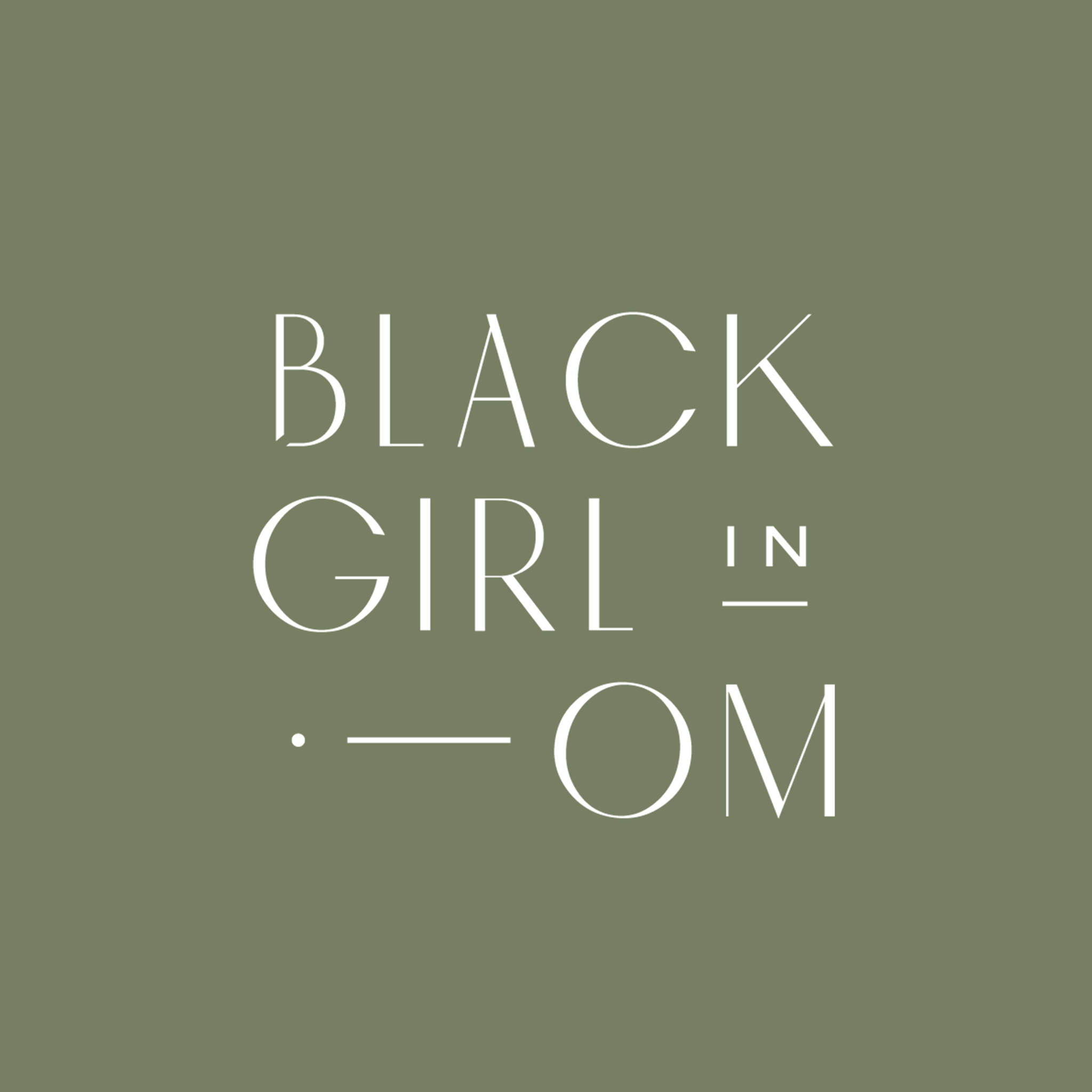 Black Girl in Om podcast logo with olive green background