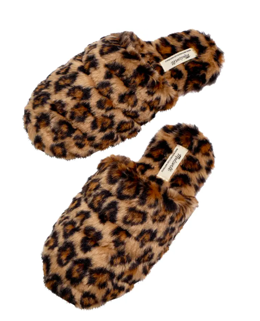 slippers, Leopard Recycled Faux Fur Quilted Scuff Slippers
