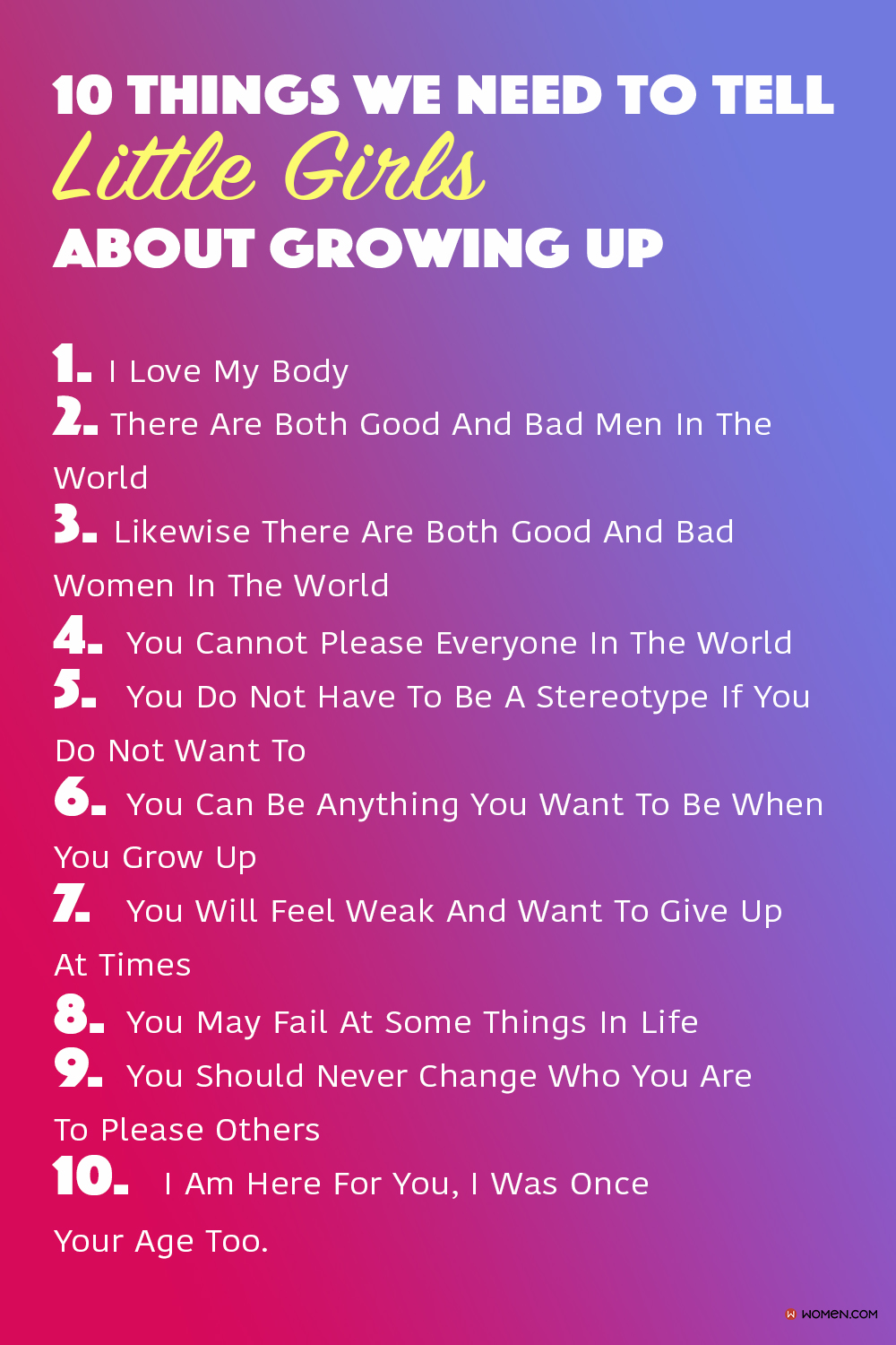 10 Things We Need To Tell Little Girls About Growing Up