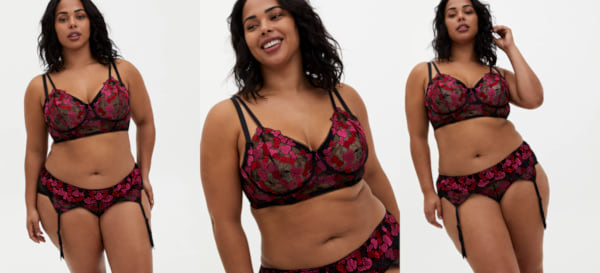 three images of a woman wearing black and pink lingerie, sex